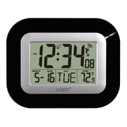 La Crosse Technology Digital Atomic Clock with Indoor Temperature, Black (WT-8005U-B)