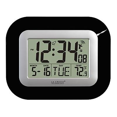 La Crosse Technology Digital Atomic Clock with Indoor Temperature, Black (WT-8005U-B)