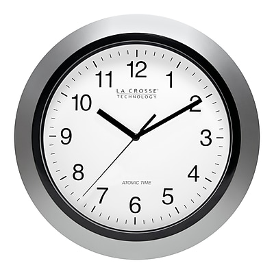 La Crosse Technology 12 Inch Atomic Analog Wall Clock, Silver (WT-3129S)