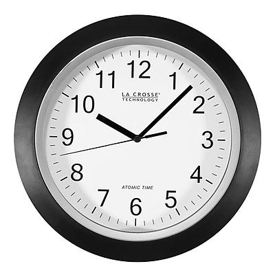 La Crosse Technology 12 Inch Atomic Analog Wall Clock, Black (WT-3129B)