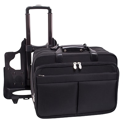 McKlein Roosevelt, Patented Detachable Wheeled Laptop Briefcase, Tech-Lite Ballistic Nylon, Black (74555)