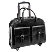 McKlein Davis, Wheeled Ladies' Laptop Briefcase, Top Grain Cowhide Leather with Faux Leather Trim, Black (96185A)