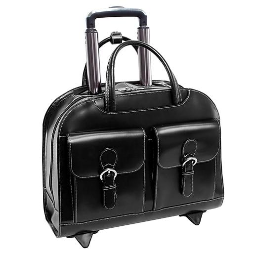 McKlein Davis, Wheeled Ladies' Laptop Briefcase, Top Grain Cowhide Leather with Faux Leather Trim, Black (96185A)
