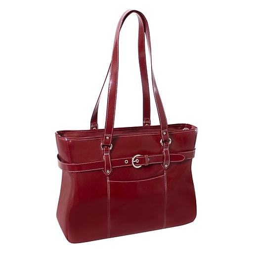 McKlein Serra, Ladies Laptop Briefcase, Top Grain Cowhide Leather, Red (35266)