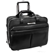 "ROOSEVELT Black 17"" Leather Detachable-Wheeled Laptop Case w/ Removable Sleeve (84555)"