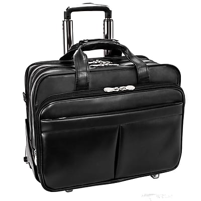 McKlein Roosevelt, Patented Detachable -Wheeled Laptop Briefcase, Top Grain Cowhide Leather, Black (84555)