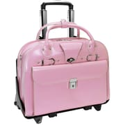 "ROSEVILLE Pink 15.6"" Leather Fly-Through™ Checkpoint-Friendly Detachable-Wheeled Ladies' Briefcase (96649)"