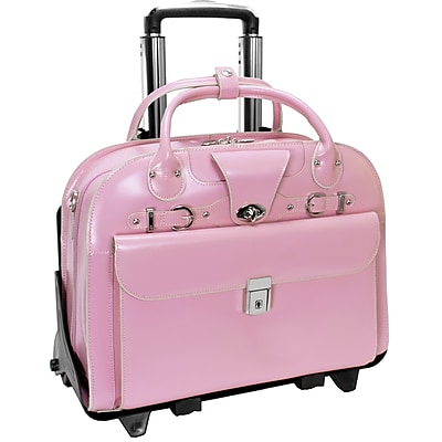 McKlein Roseville, Checkpoint-Friendly Detachable Wheeled Laptop Briefcase, Top Grain Cowhide Leather, Pink (96649)