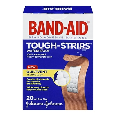 BAND-AID Brand® TOUGH-STRIPS Waterproof Bandages, One Size, 20/Pack