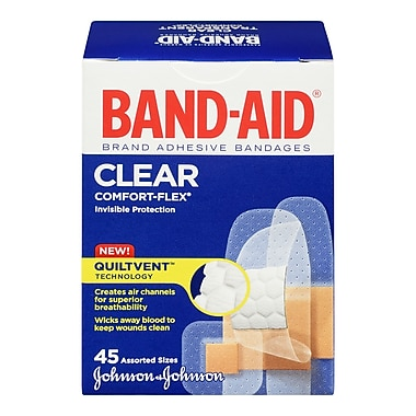 BAND-AID Brand® COMFORT-FLEX Clear Bandages, Assorted, 45/Pack