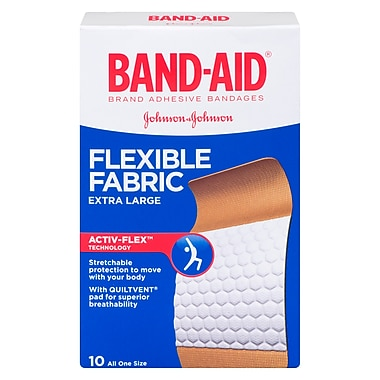 BAND-AID Brand® - Pansements en tissu flexible, format extra large; paq./10