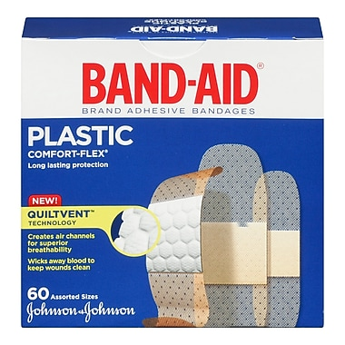 BAND-AID Brand® COMFORT-FLEX Plastic Bandages, Assorted, 60/Pack
