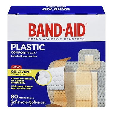 BAND-AID Brand® COMFORT-FLEX Plastic Bandages, Assorted, 80/Pack