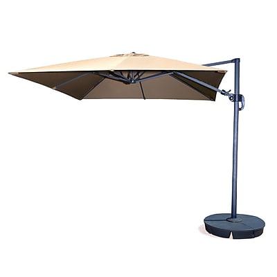 Swim Time™ Santorini II 10' Square Cantilever Umbrella With Tilt, Beige Sunbrella Acrylic