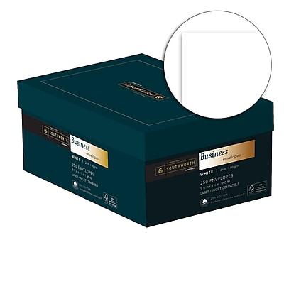 Southworth 25% Cotton Business Envelopes, #10, 24 lb., Wove Finish, White, 250/Box (J404-10)