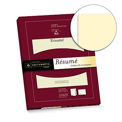 """Resume Folder (8.75"""" x 11.25"""") and Envelopes (9"""" x 12""""), 28 lb., Ivory with Gold Embossing, 5 Each(RF#3)"""