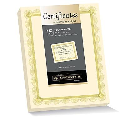 Southworth Premium Weight Certificates, Foil Enhanced Spiro Design, 8.5