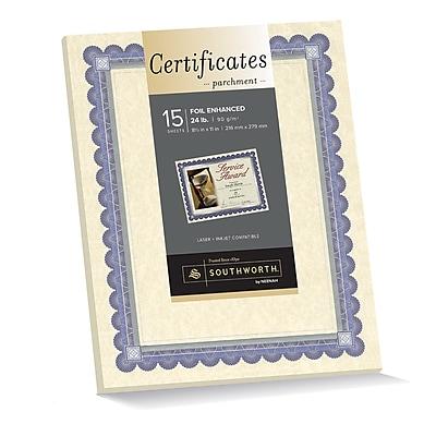 """southworth foil enhanced parchment certificates, 8 1/2"""" x 11"""", 24 lb"""