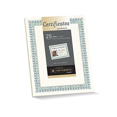 """southworth parchment certificates, 8 1/2"""" x 11"""", 24 lb., parchment"""
