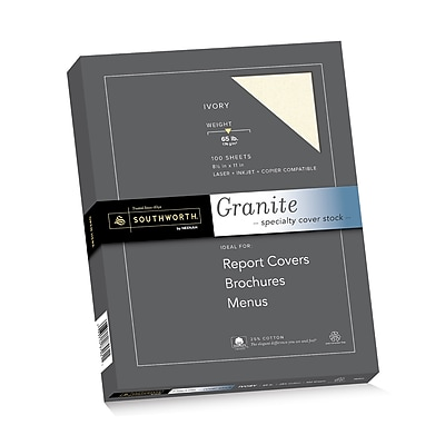 "Southworth Granite Specialty Cover Stock, 8.5"" x 11"", 65 lb., Ivory, 100/Pack (Z930CK)"