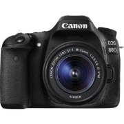 Canon EOS 80D 24.2MP Digital SLR Camera Kit, 3.1x, 18 - 55 mm, Black