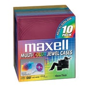 Maxell Standard Jewel Case for CD/DVD, Assorted, 10/Pack (CD-350)