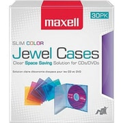 Maxell Slim Line Jewel Case for CD/DVD, Assorted, 30/Pack (CD-SLIM30CR)
