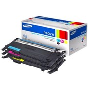 Samsung CLT-P407A Cyan, Magenta, Yellow Toner Cartridge, 3/Pack (SU383A)