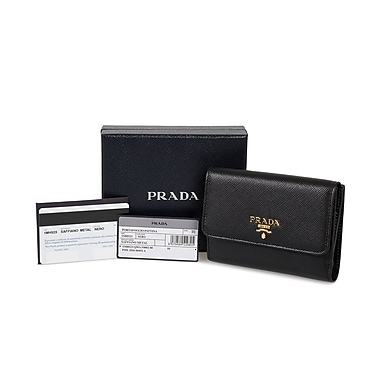 Prada Saffiano Leather Flap Wallet, Black (MH523-QWA-F0002)