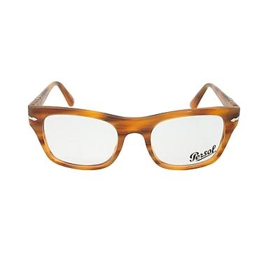 Persol Unisex Rectangular Striped Brown Eyeglass Frames, Size 52mm (3070V-960-52)