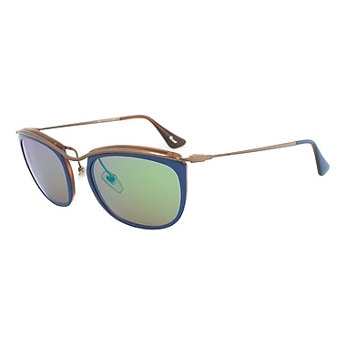 Persol Unisex Sunglasses, Blue and Matte Havana Frame, Brown Mirror Gold Lens (081S-1009O7-52)