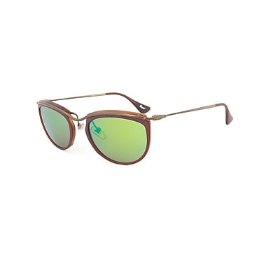 Persol Unisex Sunglasses, Red and Matte Havana Frame, Brown Mirror Gold Lens (082S-1006O7-52)