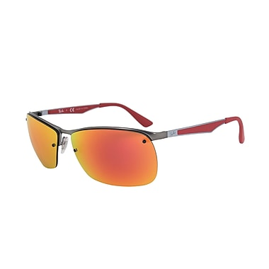 Ray Ban Unisex Rectangle Sunglasses, Gunmetal Frame, Red Mirror Lenses (3550-0296Q-64)