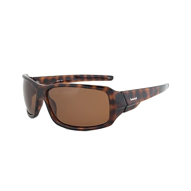 Timberland Unisex Rectangular Sunglasses, Tortoise Brown Frame, Brown Lens (TB7092-O52H)