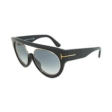 Tom Ford Women's Alana Sunglasses, Black/Gold Frame, grey Gradient Lens (FT0360-01B-55)