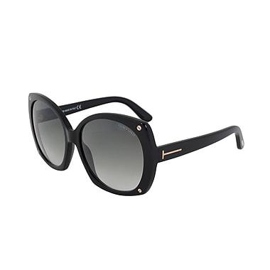 Tom Ford Women's Gabriella Oval Sunglasses, Black Frame, Grey Gradient Lenses (FT0362-01B-59)