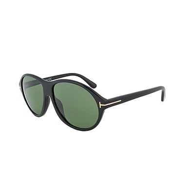 Tom Ford Unisex Tyler Sunglasses, Black Frame, Green Lens (FT0398-01N-60)
