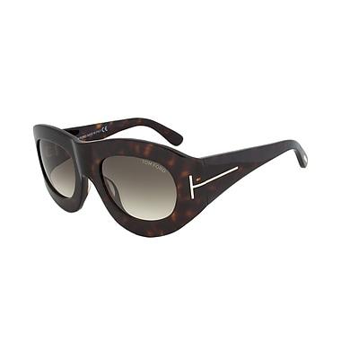 Tom Ford Women's Mila Oval Sunglasses, Dark Havana Frame, Grey Gradient Lens (FT0403-56B-53)