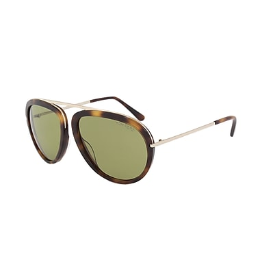 Tom Ford Stacy Aviator Sunglasses, Classic Havana & Rose Gold Frame, Green Lens (FT0452-56N-57)