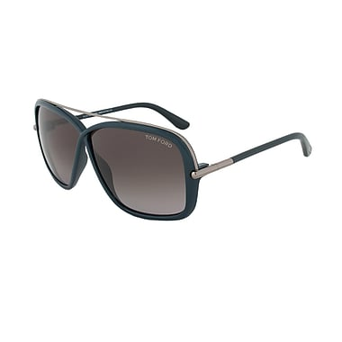 Tom Ford Unisex Brenda Sunglasses, Dark Green/Gunmetal Frame, Grey Lens (FT0455-96P-62)