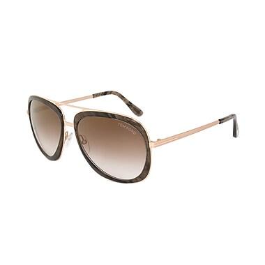 Tom Ford Men's Sam Aviator Sunglasses, Striped Brown Frames, Brown Gradient Lenses (FT0469-50C-59)