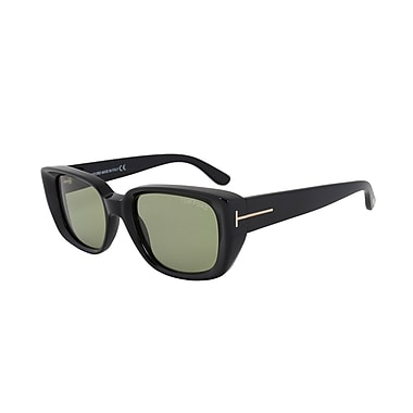 Tom Ford Unisex Raphael Square Sunglasses, Black Frame, Green Lenses (FT0492-01N-52)