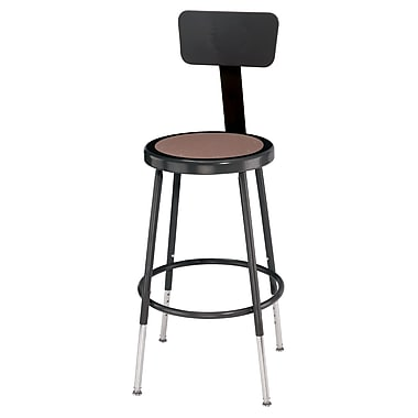 NPS® Heavy Duty Steel Stool With Backrest and Adjustable Height, Black