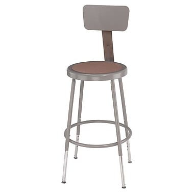 NPS® Heavy Duty Steel Stool With Backrest and Adjustable Height, Grey