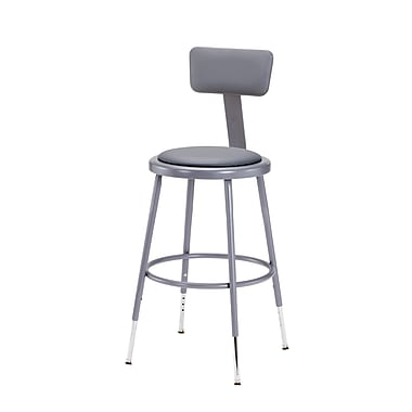 NPS® Heavy Duty Vinyl Padded Round Adjustable Stool with Backrest, Grey