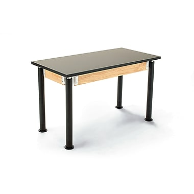 NPS® Chemical Resistant Top Science Lab Table with Adjustable Height, Black