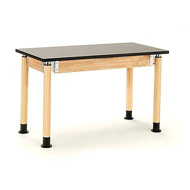 NPS® Chemical Resistant Top Science Lab Table with Adjustable Height, Black/Oak