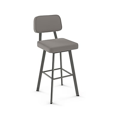 Amisco Clarkson Matt Dark Grey Metal with Warm Grey PU Stool (4154626/57DD)