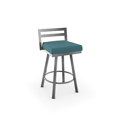 Amisco Derek Glossy Grey Metal with Bright Blue Polyester Stool (4144326/24HG)