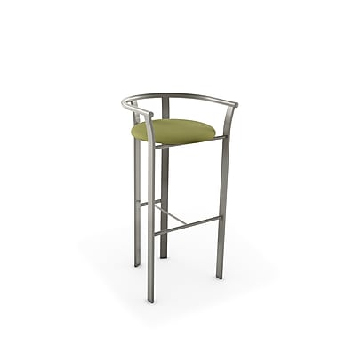 Amisco Lolo Matt Light Grey Metal with Green Fabric Barstool (4046530/56HE)